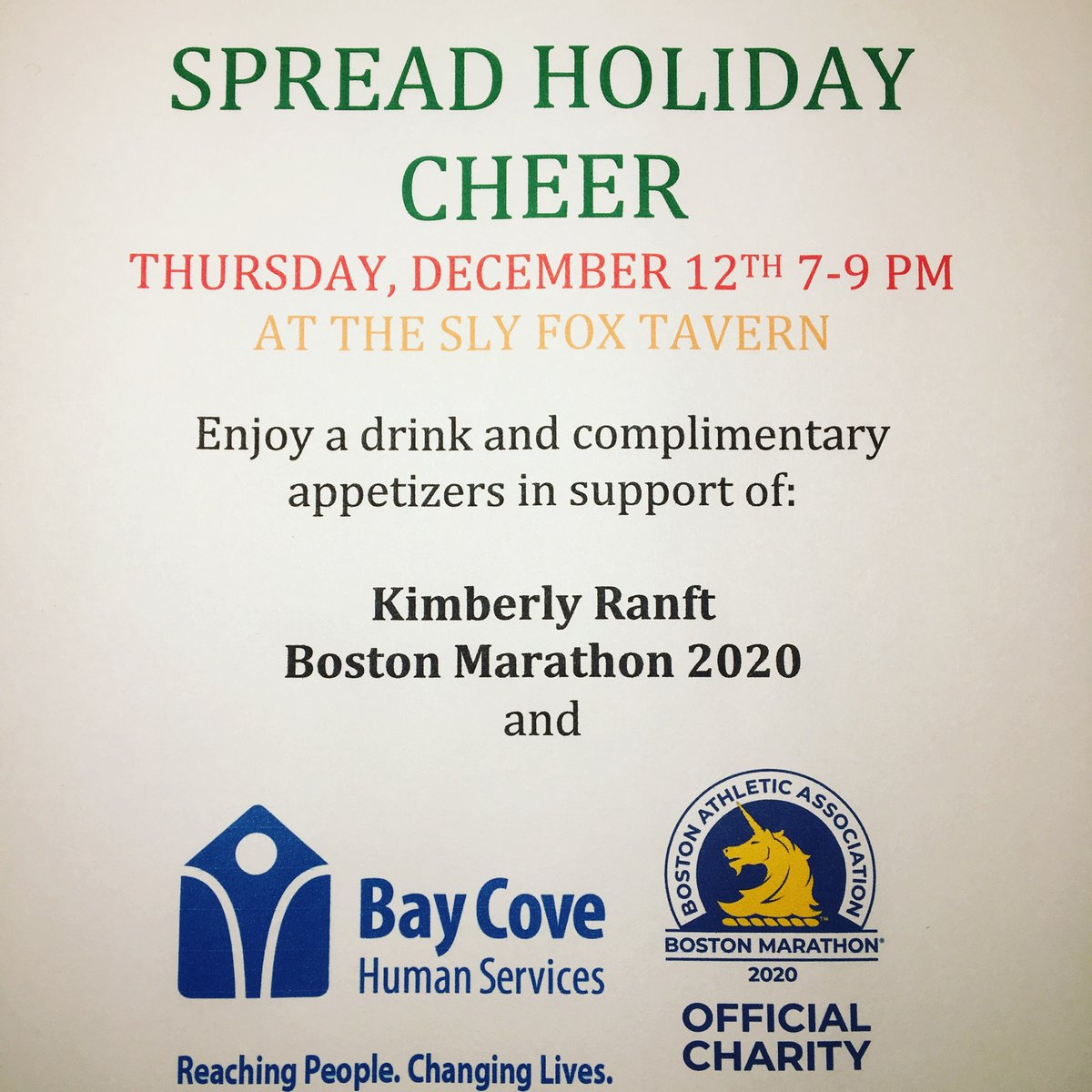 Looking to do something fun tonight, while supporting a great cause? Kim Ranft of #TeamBayCove2020 is hosting a fundraiser TONIGHT, benefiting her #BostonMarathon run for Bay Cove. If you're in the Quincy area, come out &(holiday) cheer on Kim's efforts on behalf of our agency! <br>http://pic.twitter.com/Q7Wrr8xGPB
