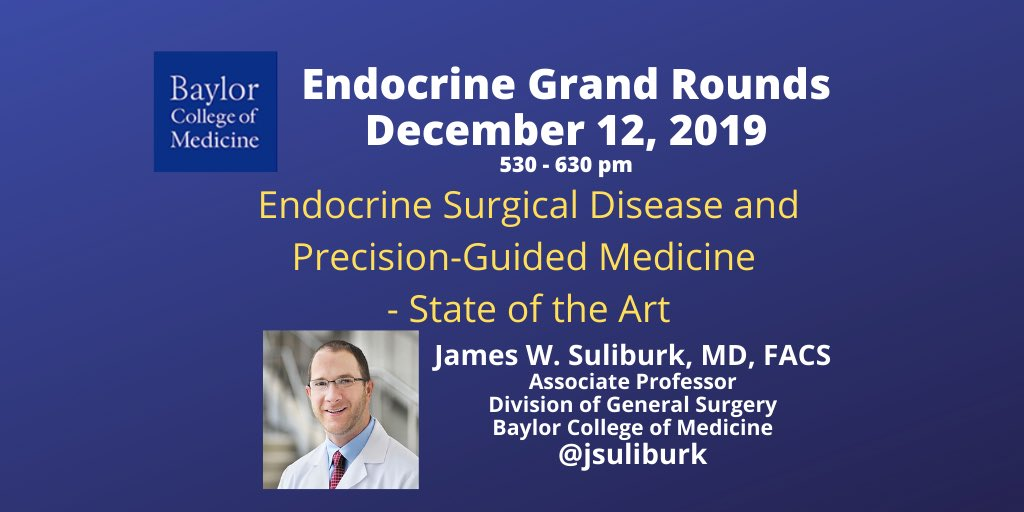 Honored and excited to be giving medical endocrinology grand rounds  today.  Did you know @bcmhouston has one of the largest endocrine fellowship programs in the #United_States ?  @TheAAES #MedEd @TheEndoSociety @TheAACE @BCM_Surgerypic.twitter.com/7epGejYIL0