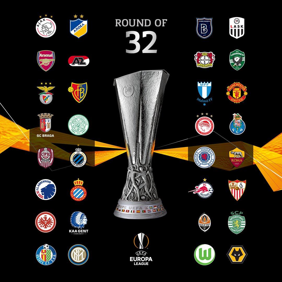 Los 32 equipos que estarán en el sorteo de la Europa League.