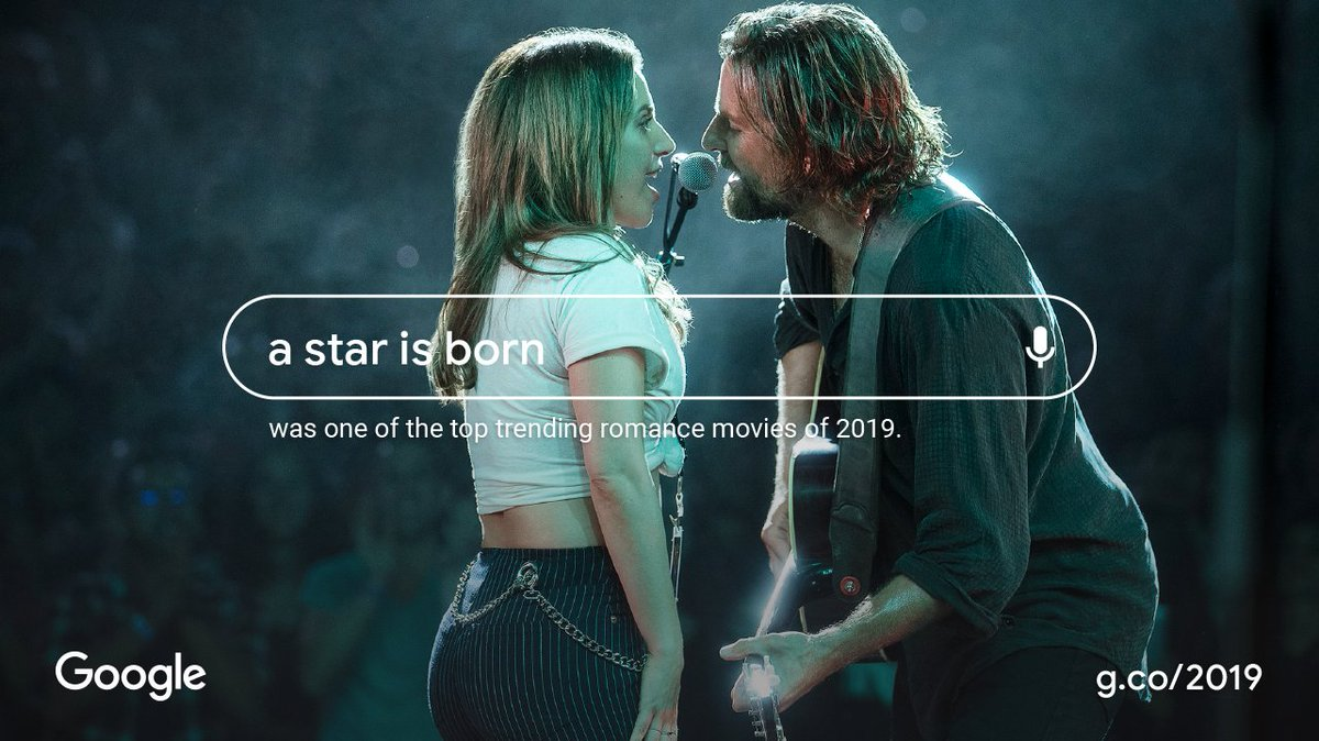 Thanks to everyone who made #AStarIsBorn  one of the top trending romance movies on @Google  this year. What did you think about those incredible performances? #YearInSearch   https://goo.gle/TVandMovies
