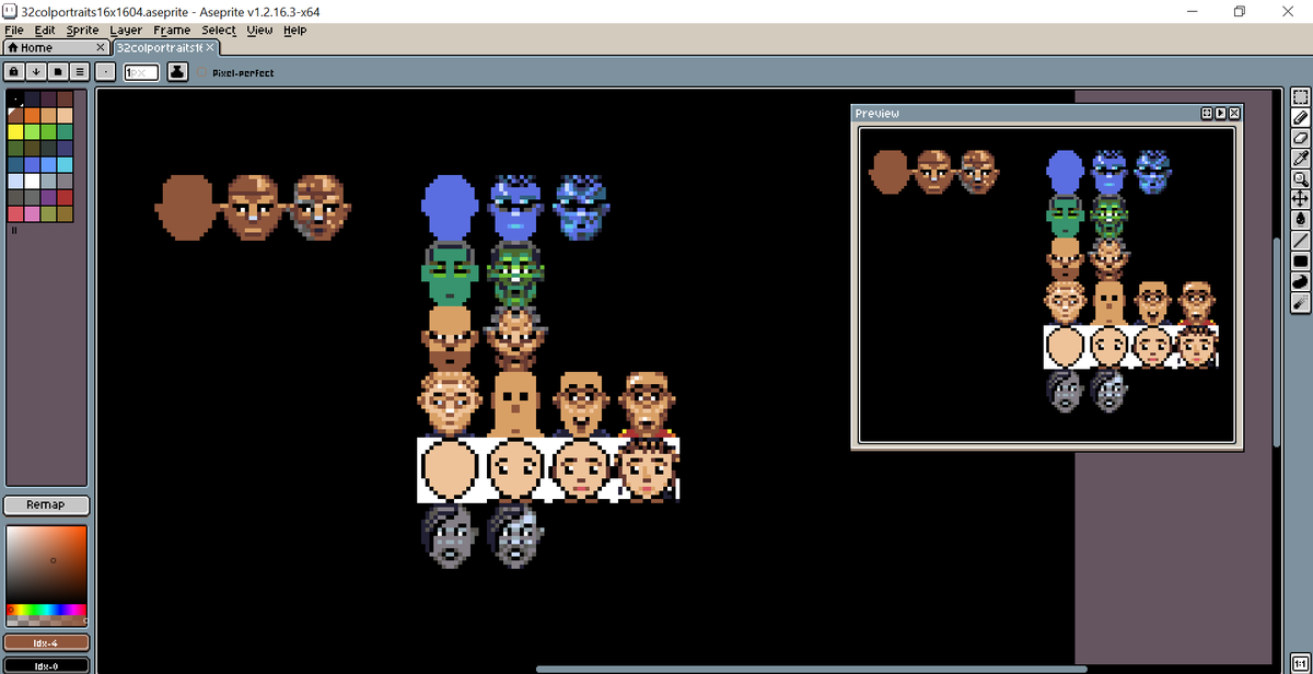 A couple of more heads done. The blue, grey and left top one. Maybe tomorow more. Me = Sleep! #pixelart #speedball2 #amiga #practisepic.twitter.com/ZKIic61BYq