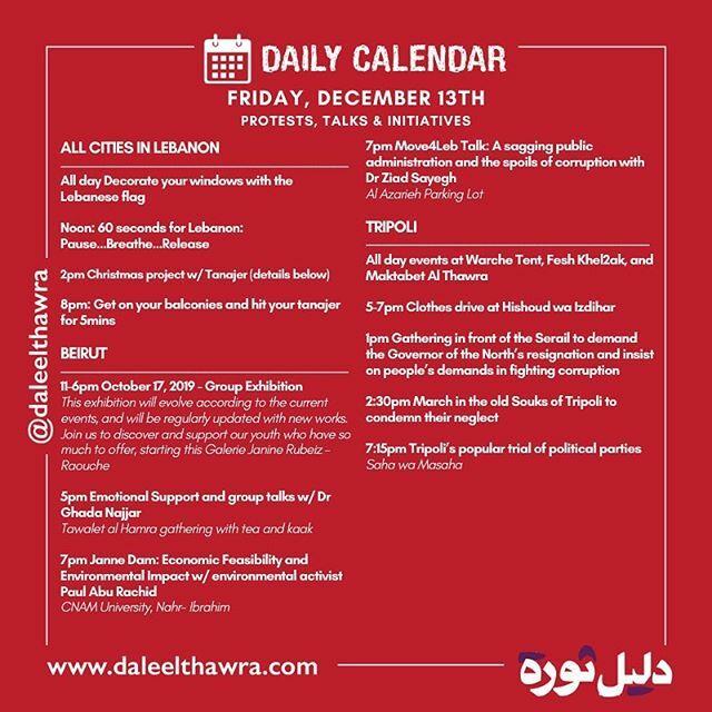 Schedule of Friday December 13th.  @lebanese.university @aubsecularclub @madanetwork @beirut_arab_university @usjsecularclub @lihaqqi @beirutmadinati @sabaapolitics @nationalbloc_lb @irshadislah @mmfidawla @hakithawra @livelovetripoli @ginoraidy @polleks… https://ift.tt/38xqLElpic.twitter.com/avhu5Gklr1