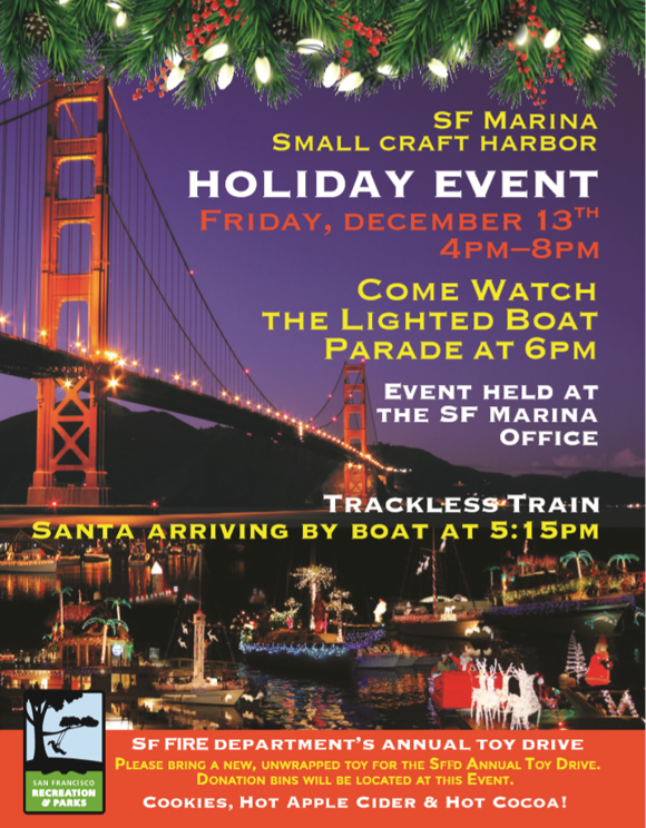 There will also be donation bins for the @SFPD toy drive so bring a new unwrapped toy. See you dockside!
