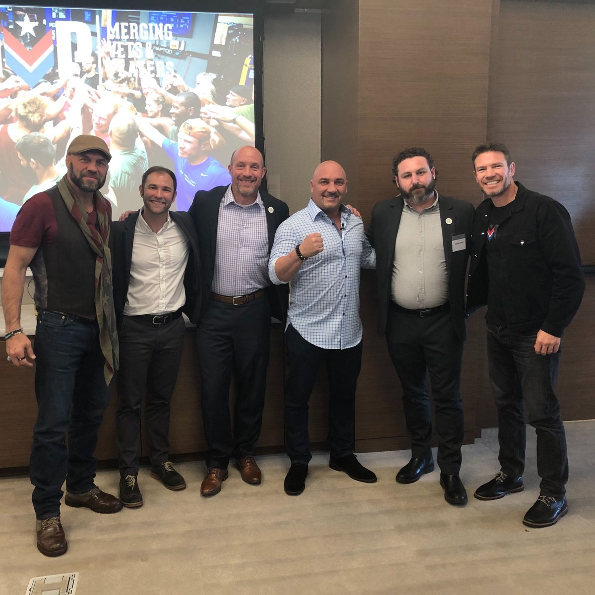 Thanks @jacobtoups and @VetsandPlayers for an inspiring lunch today with @NateBoyer37, @JayGlazer and @Randy_Couture! @Stand4Heroes is proud to work with you as an NFL-BWF Grant Recipient, reinforcing that sense of purpose for our veterans after they take off the uniform.