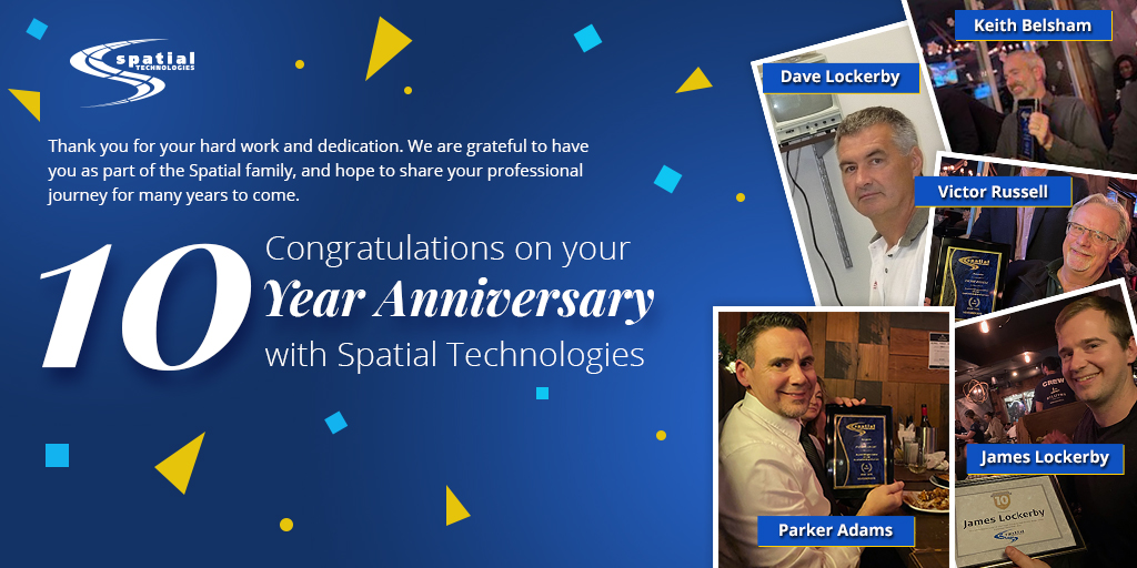 Thank you for your hard work and dedication.   Congratulations on your 10 year anniversary with Spatial Technologies!  #valuedemployee #welovewhatwedo #workplace #wearefam #tenth #gratitude #DECADE #rock #pillars #HappyThanksgiving