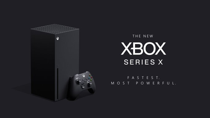 The Xbox Series X is on display in a plain, dark grey environment with a controller. Photo reads: THE NEW XBOX SERIES X. FASTEST. MOST POWERFUL.