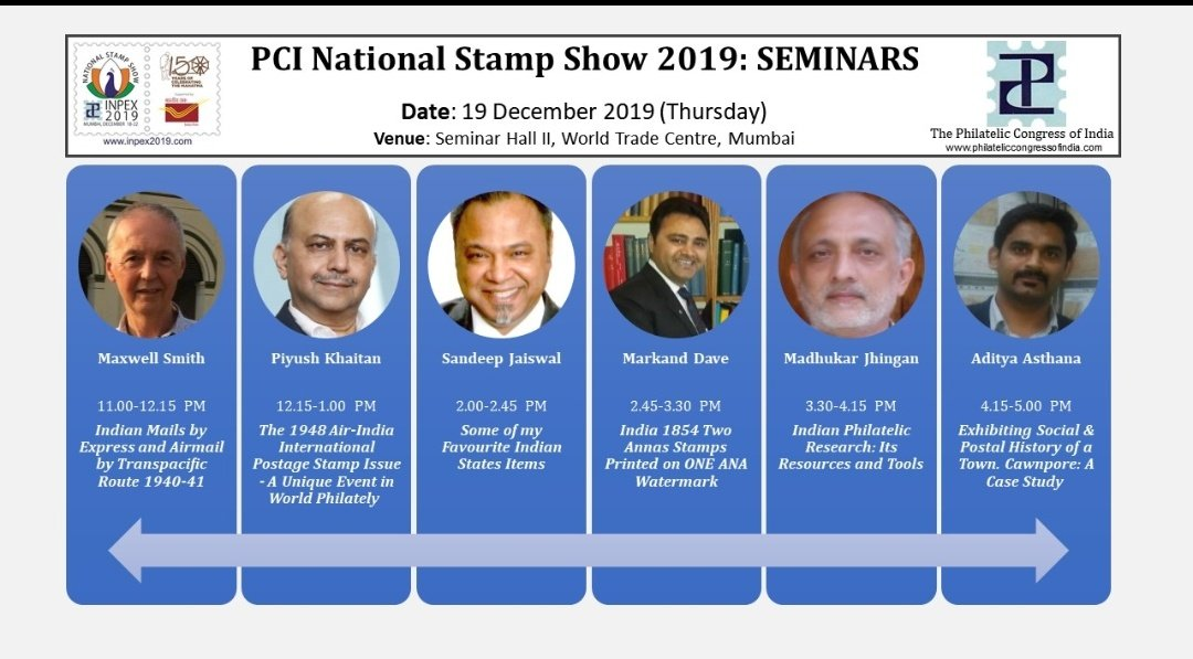 """""""INPEX 2019 PCI National Stamp Show, December 18-22, 2019 is being organized at the World Trade Centre, Mumbai. Schedule of events is now posted online. Visithttps://www.inpex2019.com/programme.htmlfor full details."""""""