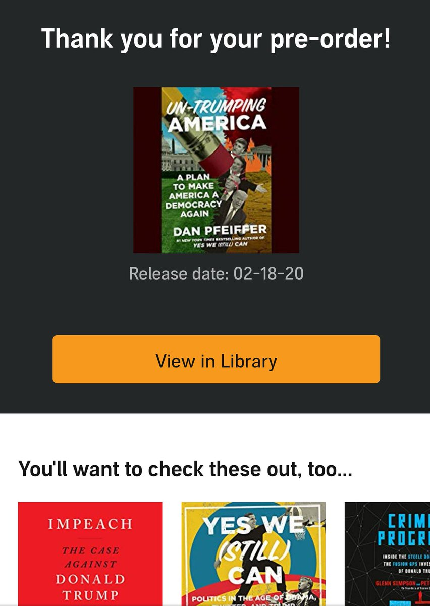 Adding to my own donation to #FairFight2020 with this pre-order of @danpfeiffer 's book to help @crookedmedia reach their $2 million goal for @staceyabrams.