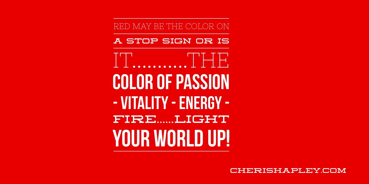 Red may be the color of a STOP sign..or is it the color of #PASSION - VITALITY - #ENERGY - FIRE!!! Light your world up!   ==> http://Bit.ly/EnergytoburnSixDayExperience…