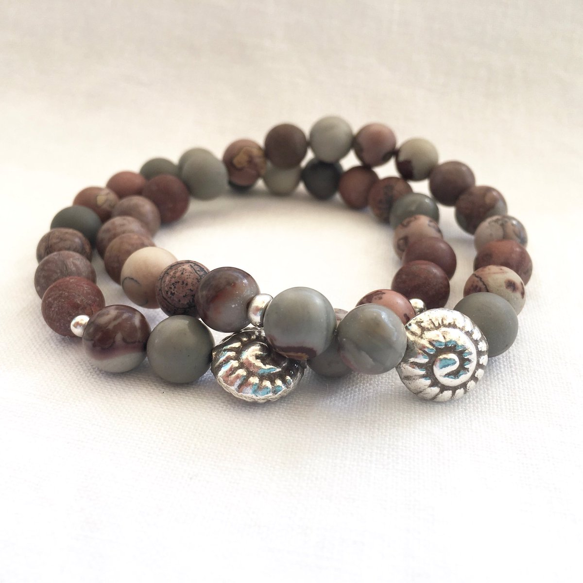 Happy to share a favorite from my #etsy shop: Artistic Jasper Fine Silver Nautilus Shell And Sterling Silver Accent Beads, Mens Nautical Marine Biologists Gift, Boyfriend, Unisex Ideas  https:// etsy.me/2PKCve6    <br>http://pic.twitter.com/K4UuOFN0L0