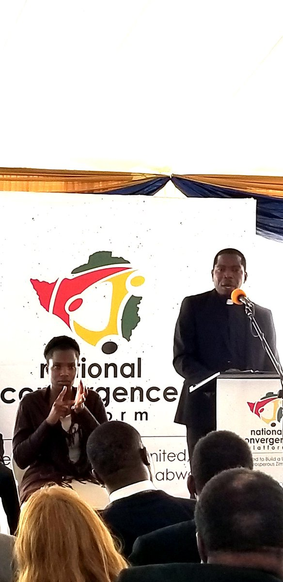 Dr Rev Mtata delivering main address calls for an honest and inclusive national conversation to determine what should be the right path for the nation as the current road being travelled is not addressing the severe problems affecting the country https://twitter.com/CanEmbZimbabwe/status/1205403085801177089 …