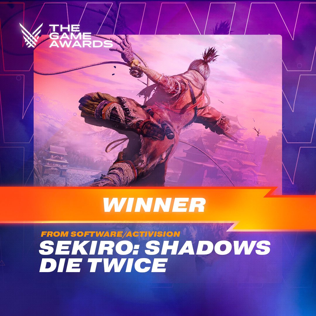 Sekiro: Shadows Die Twice has won GAME OF THE YEAR by #TheGameAwards! 🎉 Thank you to The Game Awards and our fans for their continued support.