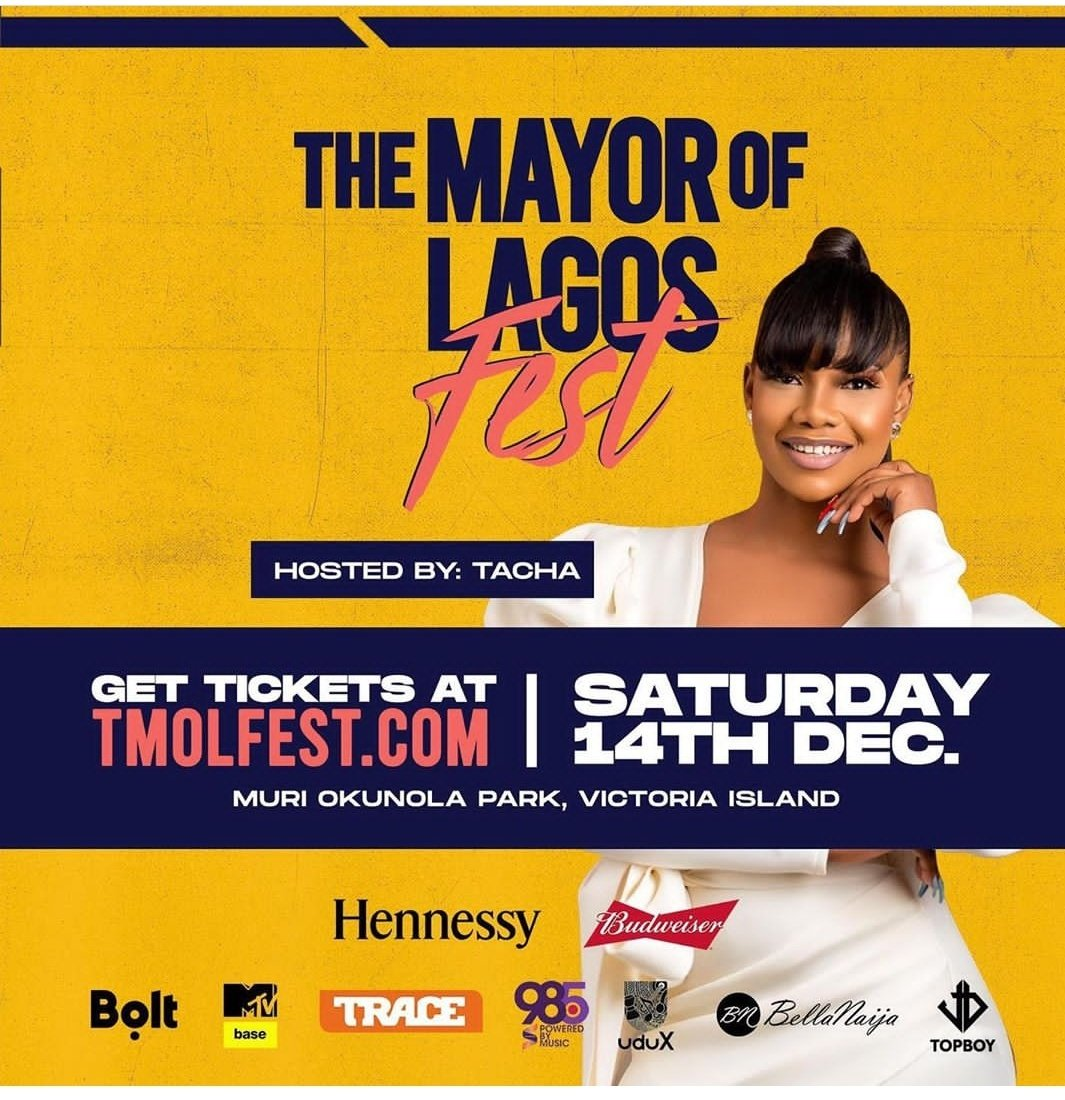 Meet the original clout herself hosting. Lagos Titans don't turn this fest to your meet and greet OK.  I know my fanmily . Get your tickets and have fun with the queen of trident . #TachaXTMOLFest #TachaXTMOLFest #TachaXTMOLFest #EverythingTacha <br>http://pic.twitter.com/czbixidXyQ