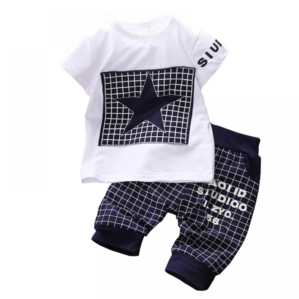#children #night Baby Boy's Summer Star Printed Clothing Sets