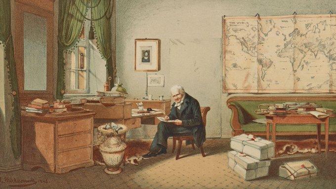 Eduard Hilderbrandt; von Humboldt en su estudio; grabado 1874