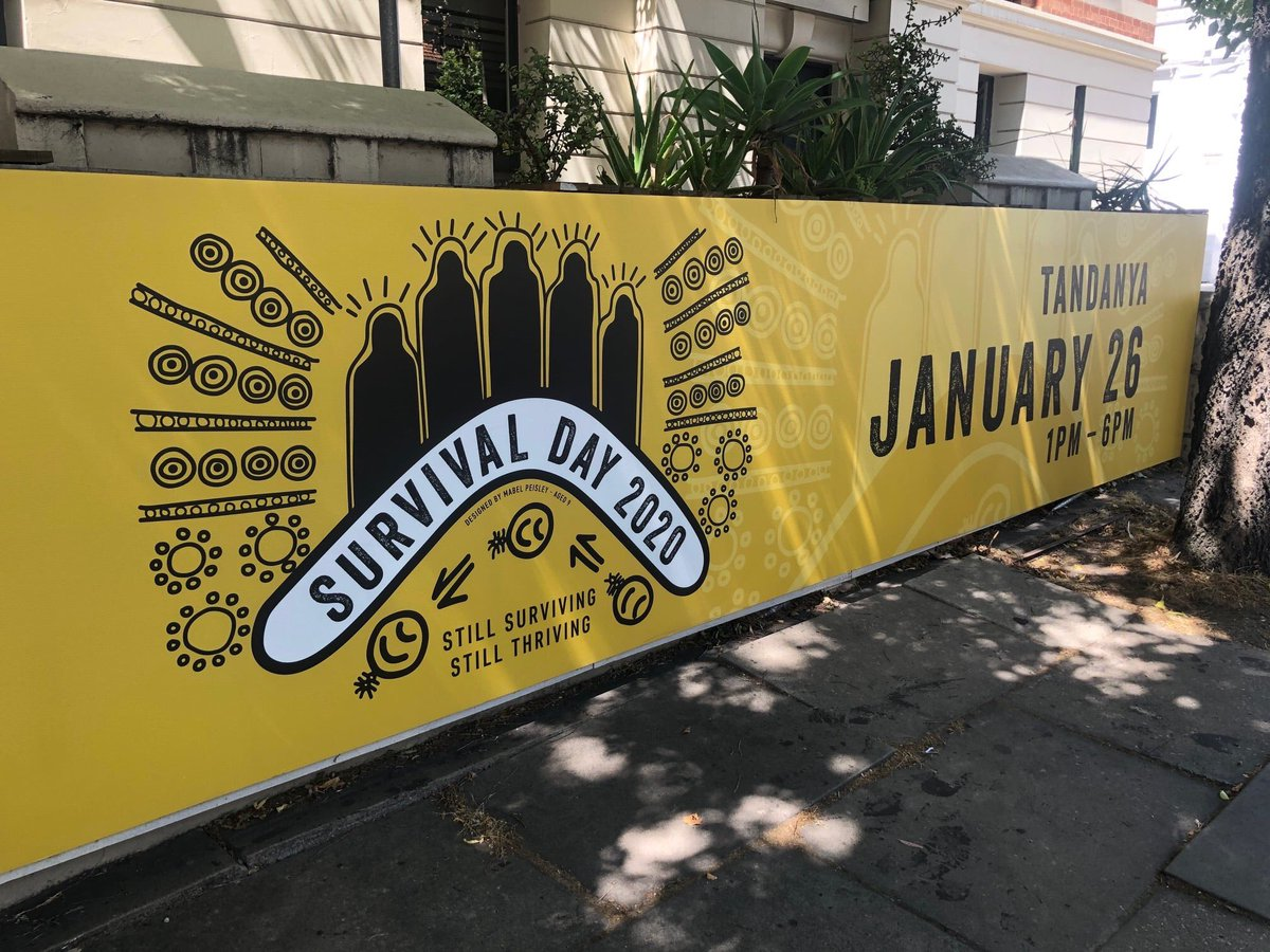 Ok, I'm shameless and hugely proud that my nine year old daughter, Mabel, won the design competition for Survival Day 2020 here in SA. Her design is on posters, T-shirt's and on a massive banner at Tandanya. Soooo proud!!! <br>http://pic.twitter.com/Pvig6nx2SD