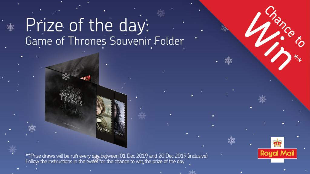 The #GameOfThrones Vinyl album sized Collector Set is an ideal #Christmas gift for #GoT fans. RT for a chance to WIN - To enter you must: be 18+, UK resident, follow this page & retweet between 8 am & 8 pm on 13 Dec '19 inclusive. 1 prize. Full T&Cs apply:  https://www. royalmail.com/stampscompetit ion2019  … <br>http://pic.twitter.com/WTT6l3dstB