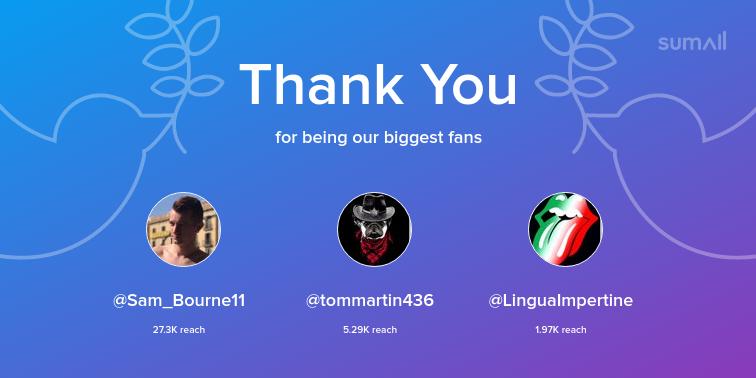 test Twitter Media - Our biggest fans this week: Sam_Bourne11, tommartin436, LinguaImpertine. Thank you! via https://t.co/i5D4iuvNnN https://t.co/ta4Y5QsiA2