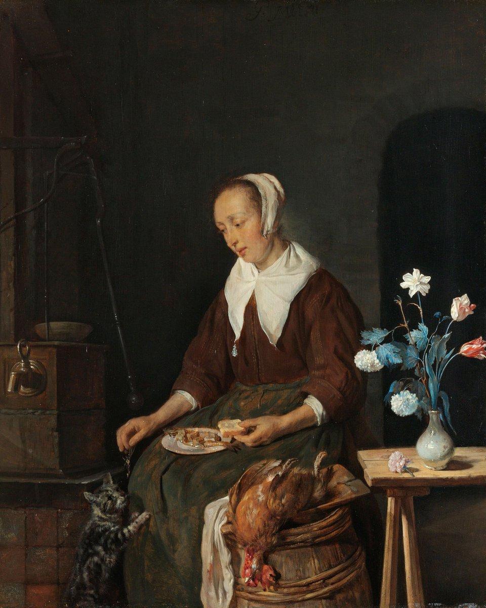 #Goodmorning! Woman shares her #breakfast of kipper with hungry #cat by Gabriël Metsu, ca. 1661 - ca. 1664, coll. #rijksmuseum