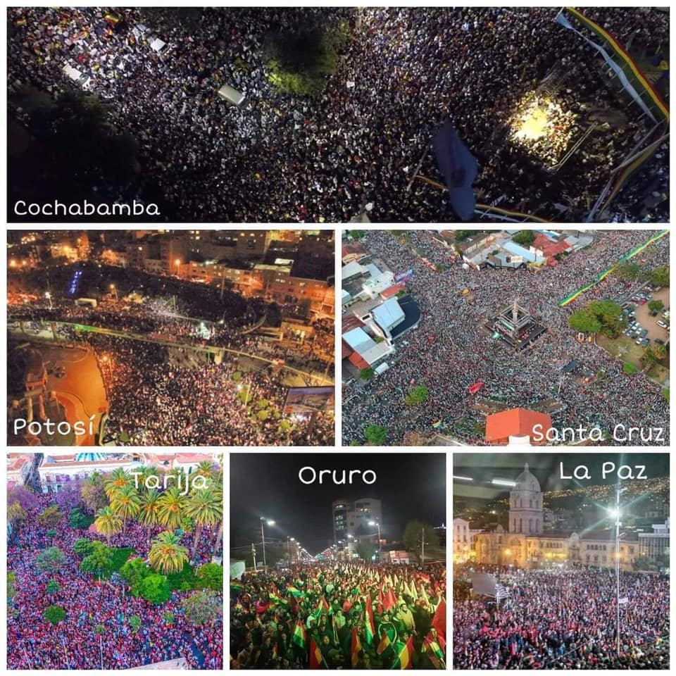 THESE are the real people of #Bolivia who rallied in support of Camacho against narco dictator Morales who you seem so enamoured with.   YOU are SO CLUELESS Medea #pititatwittera #BoliviaUnida #BoliviaLibre #PititaTwitteraBolivia #pititas<br>http://pic.twitter.com/0WhVirwfCM
