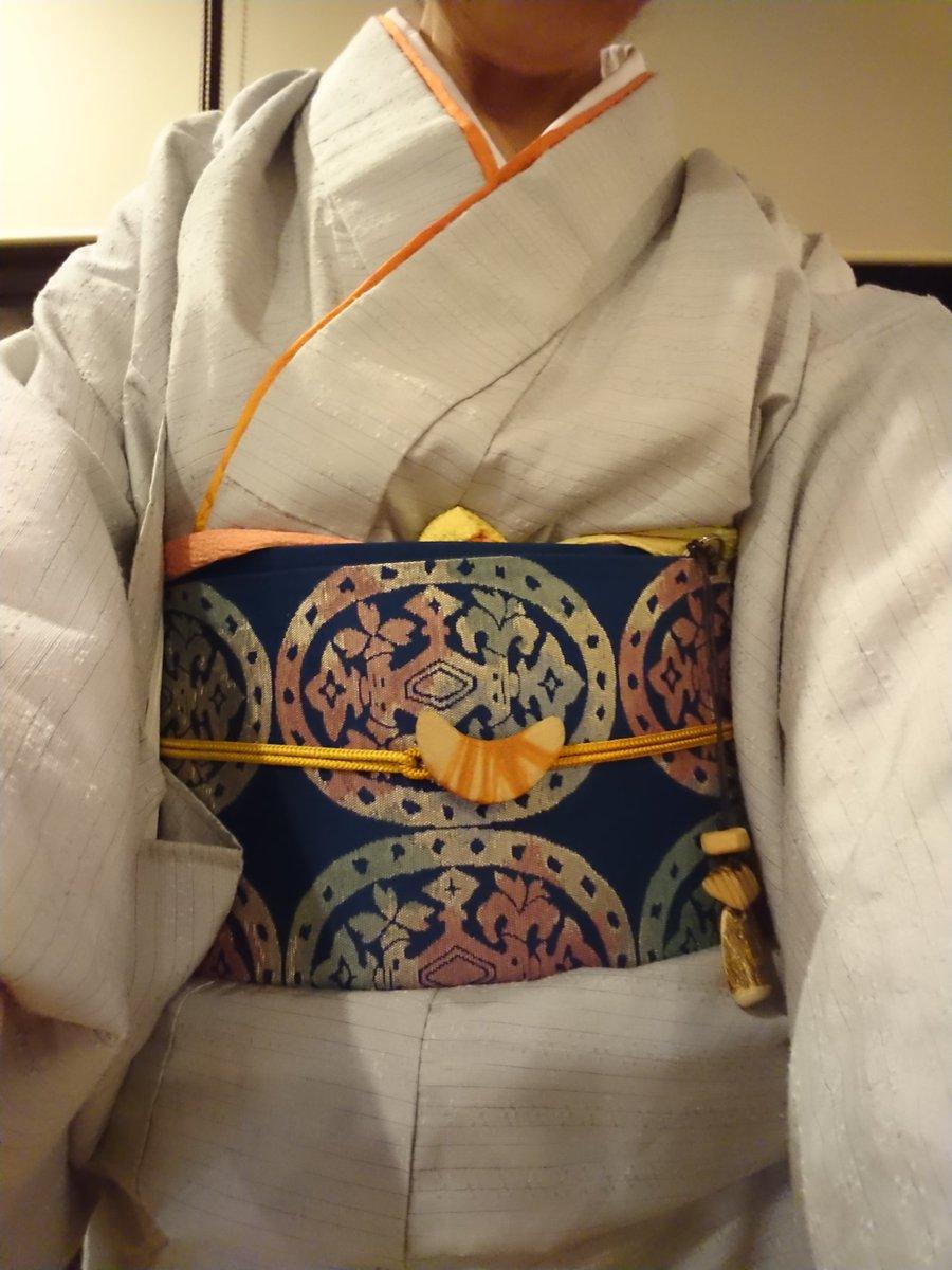 #熊須碁盤店 の熊須健一さんの #現代の名工 受賞記念パーティー。 同じく現代の名工の秋山眞和先制の着物で。 #黄櫨染 を差し色に使ってみました https://t.co/oNulwz0gjr