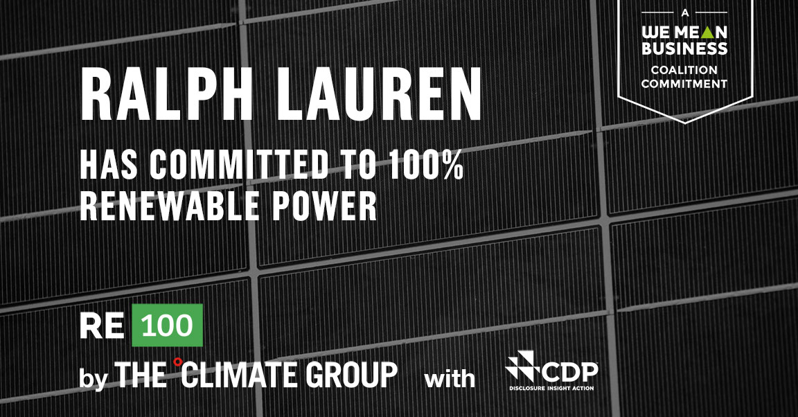 Congrats @RalphLauren for joining #RE100 & committing to 100% #renewable power @ClimateGroup @CDP #re100 re100.org