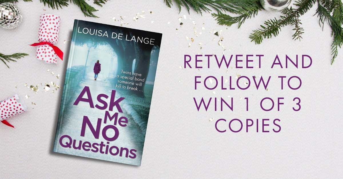 GIVEAWAY TIME! Want an early xmas present, for you or a loved one? Retweet and follow between now and 10pm on Monday and you could win one of three personalised copies of ASK ME NO QUESTIONS! (UK only please, sorry.) #AskMeNoQuestions #giveaway #FreebieFriday #bookgiveaway<br>http://pic.twitter.com/9cqCPXIB0T