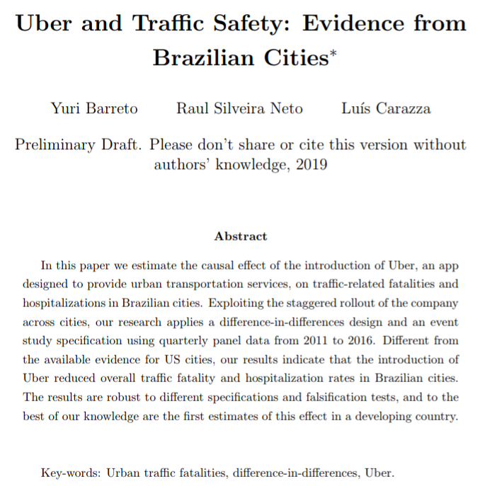 Very excited to present my paper with Raul Silveira Neto and Luis Carazza at the 41st meeting of the Brazilian Econometric Society today.  Our paper show that the launch of Uber reduced traffic fatalities and hospitalizations in Brazilian cities.    http:// drive.google.com/file/d/17_UdVX 2YnVXpU_-cuE6ThlbSbm8CFQYp/view?usp=drivesdk  … <br>http://pic.twitter.com/xvVHVK8oE5