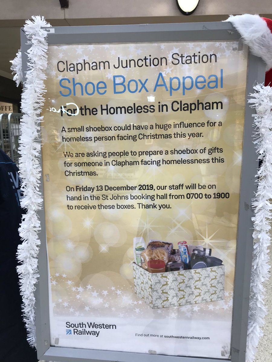 It's really wonderful🙏 that @sw_train are raising money for the homeless here at #ClaphamJunction in the Heart of #Battersea but it's v confusing that the platform announcements & poster mention 'Clapham' located c.1.5 miles away. Can this be corrected? @ShopstopCJ @networkrail