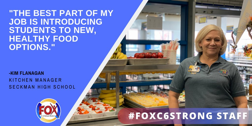 Meet #Foxc6strong staff member Kim Flanagan. Kim serves as the Kitchen Manager at @SeckmanHigh.