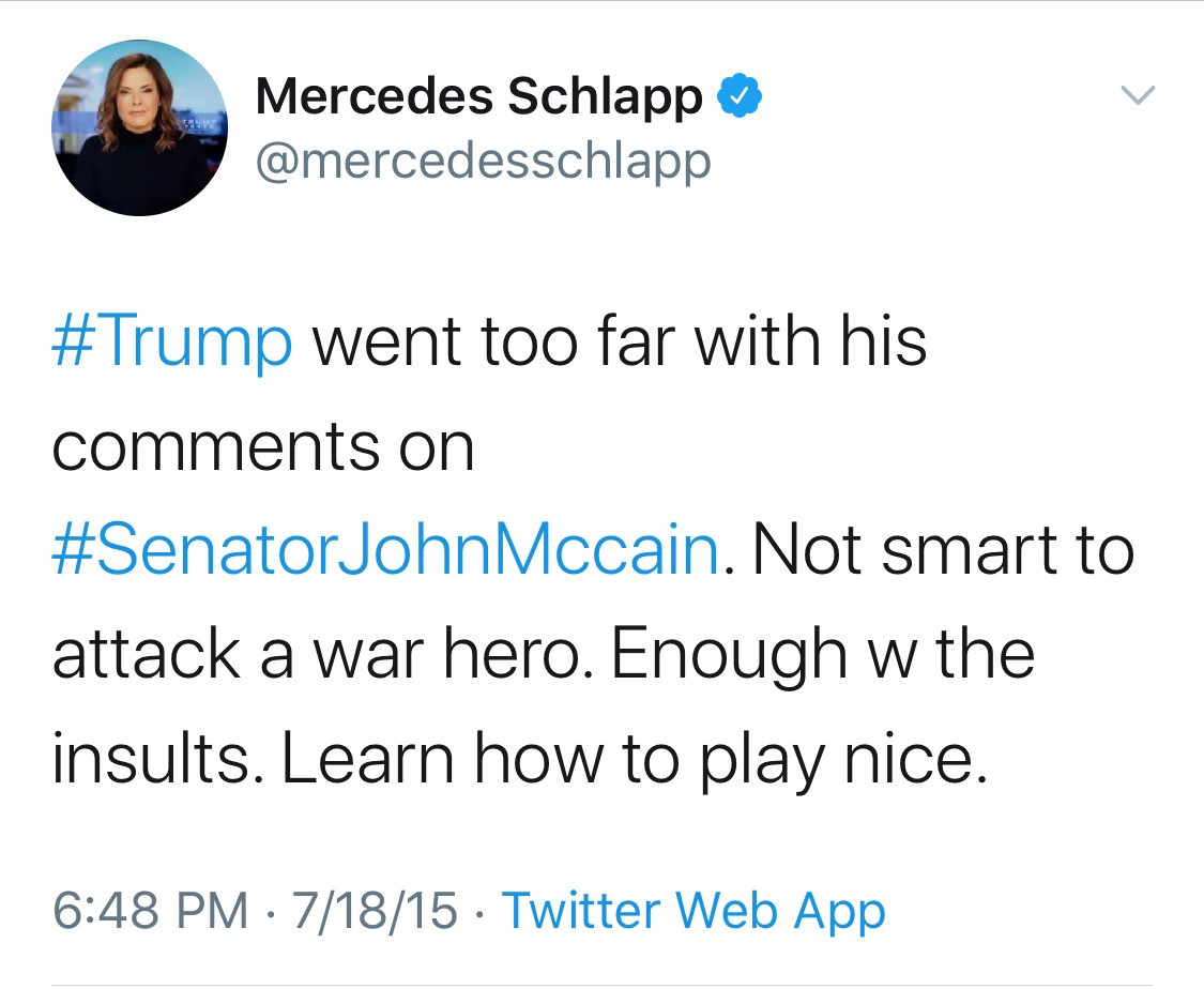 @mercedesschlapp C'mon, Mercedes. Follow your own advice to @realDonaldTrump: 'Enough with the insults.'