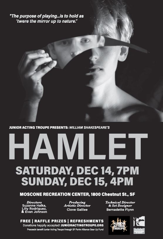 Join them for their production Hamlet this weekend at Moscone Rec Center. The shows will take place on Saturday, 12/14 beginning at 7PM & Sunday, 12/15 beginning at 4PM. This production is free & will feature raffle prizes & refreshments. More here: https://t.co/yljkejz5JT