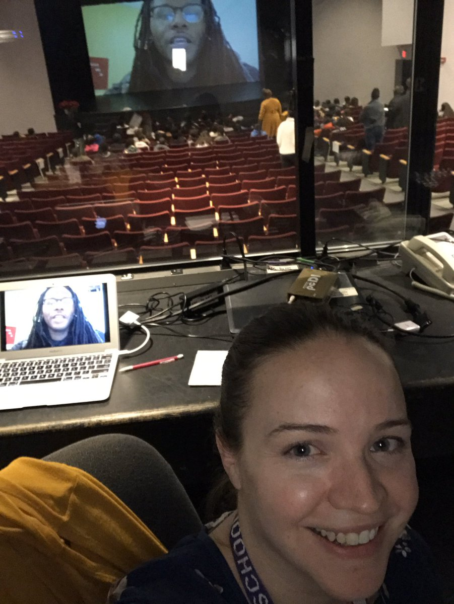 Who let Mrs. Yu in the tech booth?? Best way to finish out the week is with an Author Skype! Ronnie Sydney II speaks to our students about writing, special education, bullying, self-esteem and resilience. <a target='_blank' href='http://search.twitter.com/search?q=RepresentationMatters'><a target='_blank' href='https://twitter.com/hashtag/RepresentationMatters?src=hash'>#RepresentationMatters</a></a> <a target='_blank' href='http://twitter.com/APSLibrarians'>@APSLibrarians</a> <a target='_blank' href='http://twitter.com/GuMS_Principal'>@GuMS_Principal</a> <a target='_blank' href='http://twitter.com/EquitySmith'>@EquitySmith</a> <a target='_blank' href='https://t.co/kzUnm1fuP9'>https://t.co/kzUnm1fuP9</a>