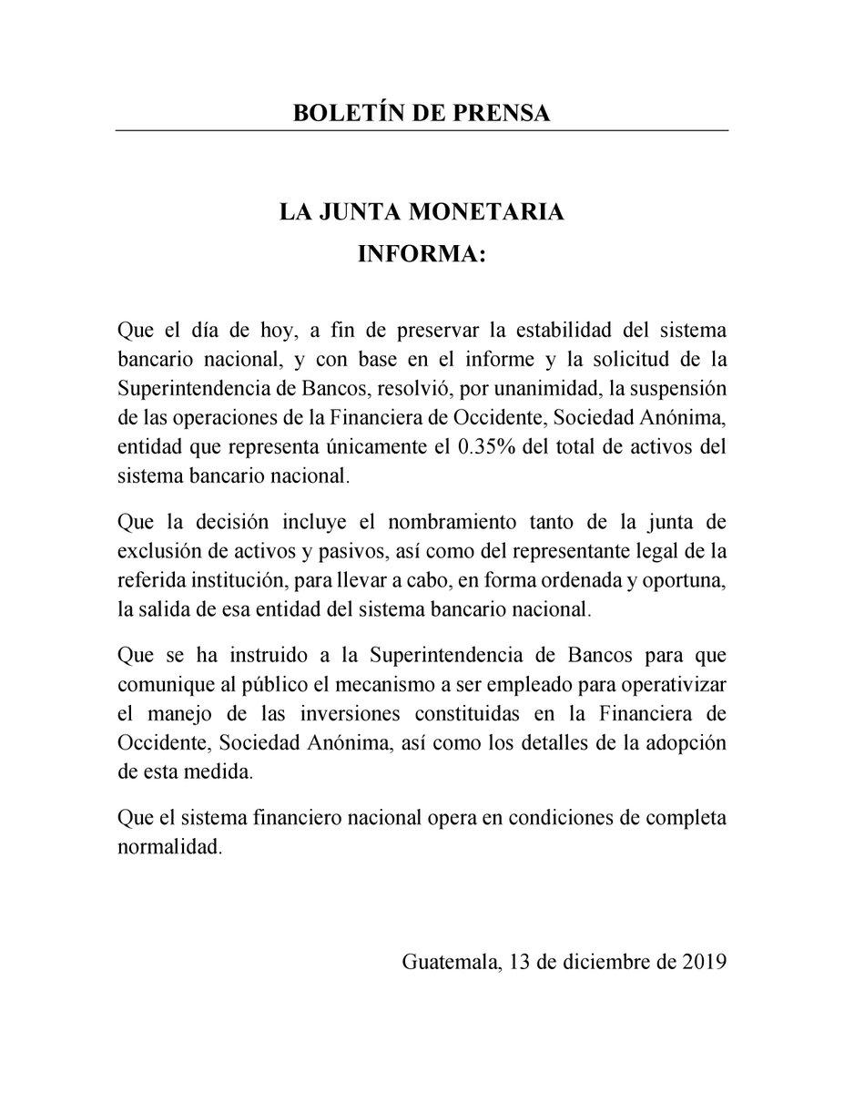 test Twitter Media - La Junta Monetaria informó la decisión de suspender las operaciones de la Financiera de Occidente, S.A. Esta entidad representa únicamente el 0.35 % del total de activos del sistema bancario nacional. https://t.co/1Ltcr49P6e