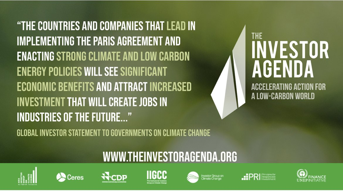 631 institutional investors with millions of beneficiaries & managing $37 trillion in assets strongly support the #ParisAgreement & urge all governments to step up their ambition + take urgent action to achieve its goals #TheInvestorAgenda bit.ly/2svFUTi @CeresNews @CDP