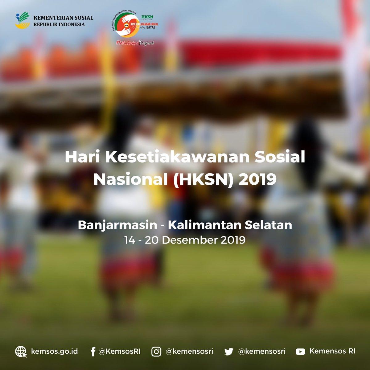 "Selamat malam #SobatSosial. Jelang Hari Kesetiakawanan Sosial Nasional (HKSN) 2019 dengan tema ""Menembus Batas"", Minsos akan berbagi konten-konten menarik seputar isu kesetiakawanan #SetiakawanBergerak #Kemensos #IndonesiaMaju"
