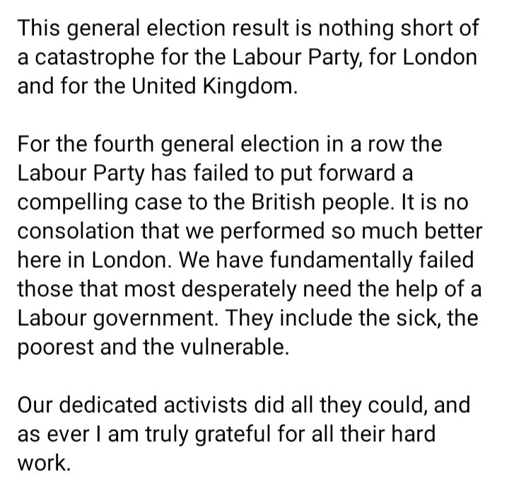 This general election result is nothing short of a catastrophe for the Labour Party, for London and for the United Kingdom. The Labour Party will have to change fundamentally to rise to the challenges and confront the new political reality we face. business.facebook.com/sadiqforlondon…