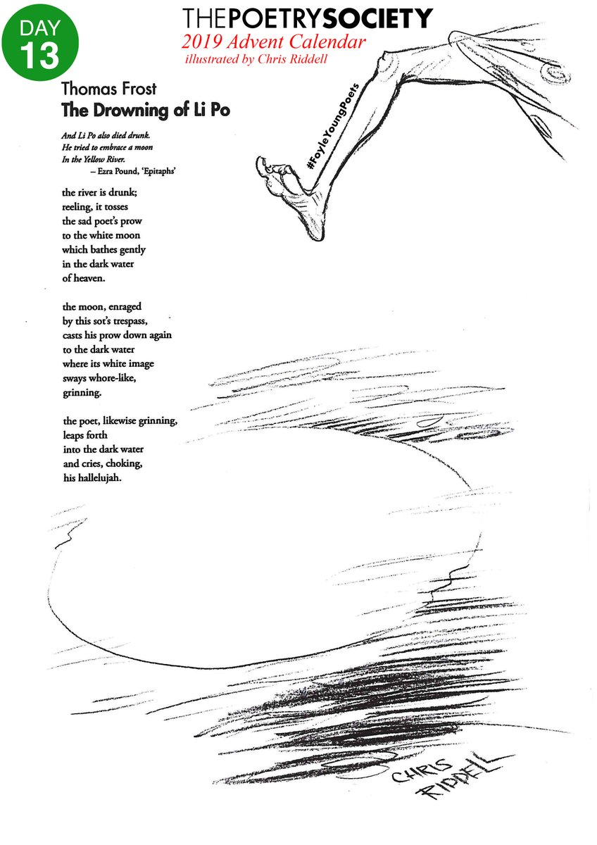"""test Twitter Media - """"the river is drunk; reeling, it tosses the sad poet's prow to the white moon""""  Day 13 for the #FoyleYoungPoets Advent Calendar and Thomas Frost takes the plunge with 'The Drowning of Li Po'  @youngpoetsnet  @chrisriddell50 https://t.co/mYwUzIZg26"""