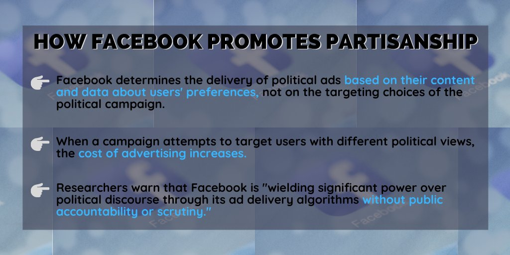 New study reveals that @Facebook ad delivery algorithms make it more expensive for political candidates or campaigns to target users with different political preferences, exacerbating filter bubbles & distorting political discourse. Read the full findings: