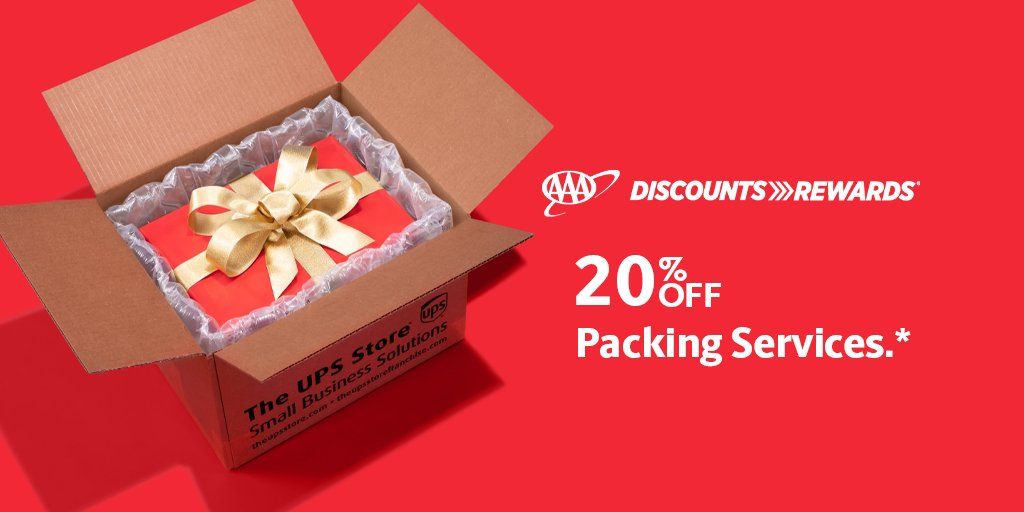 LIMITED-TIME OFFER: Use your #AAADiscounts to save 20% on packing services @TheUPSStore in December.
