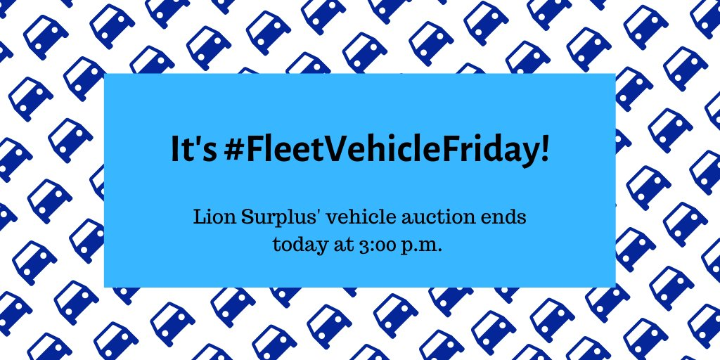 It's #FleetVehicleFriday! If you're interested any of the 8 Penn State Fleet vehicles up for bid this week, make sure you get your bid to @LionSurplus before 3 p.m. today!!    For more info, visit http://ow.ly/H0l450k8uHw #statecollege #chevysforsale #fordsforsale #toyotasforsalepic.twitter.com/lehmeLlUeK