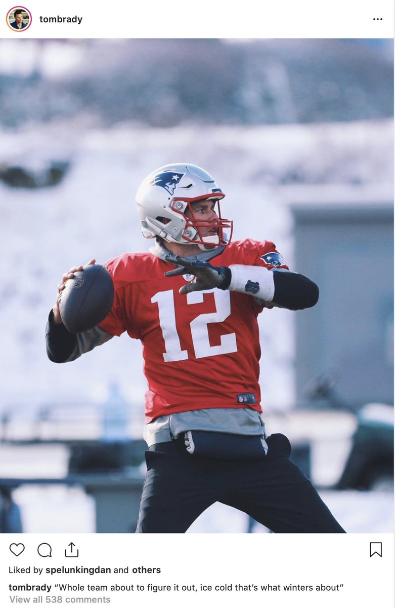 """Tom Brady feeling positive on Instagram. The QB quotes Mac Miller: """"Whole team about to figure it out, ice cold that's what winters about"""" <br>http://pic.twitter.com/3h8s7GIehA"""