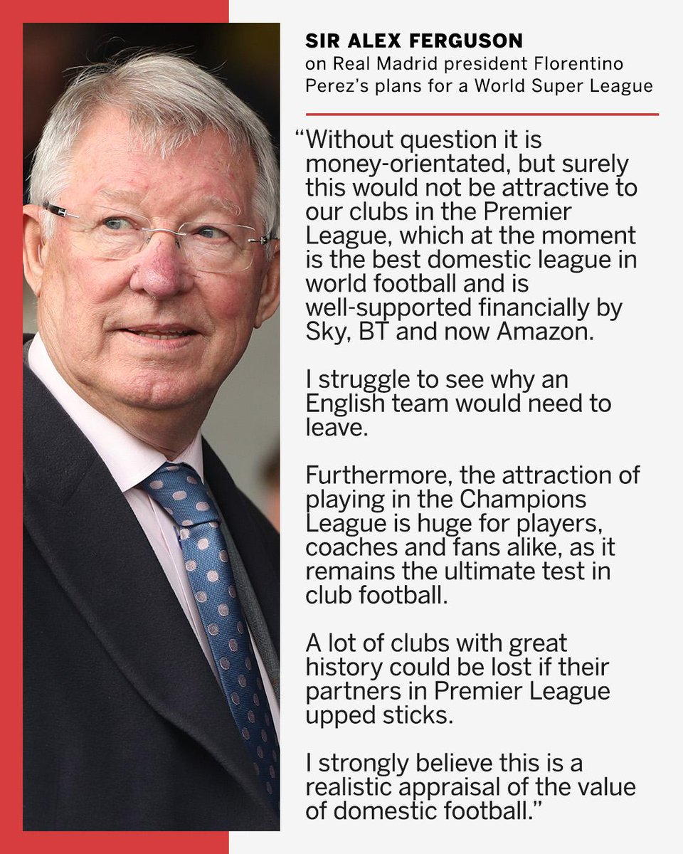 Sir Alex Ferguson hits out at plans for a global Super League.