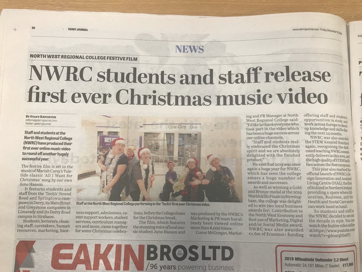 Fantastic coverage of our College Christmas video, thank you @derryjournal. We are delighted! 👏