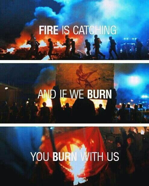 You can torture us, bombard us, set fire to our districts. But you see that? Fire is catching. And if we burn, you burn with us.... One of my favourite quotes from Hunger games  #ขบวนเสด็จ<br>http://pic.twitter.com/6GqLb54vSH