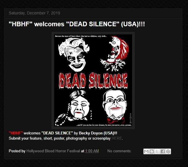 """I have officially been selected into the Hollywood Blood Horror Festival with my """"Dead Silence"""" poster. I'm up for Best Poster/Photography.   https://beckydoyon.com/blogs/news/hollywood-blood-horror-festival-december-selection…  #horrorartist #horrorcommunity #horrorfamily #horrorfam #maineartistpic.twitter.com/TdbPwFQ388"""