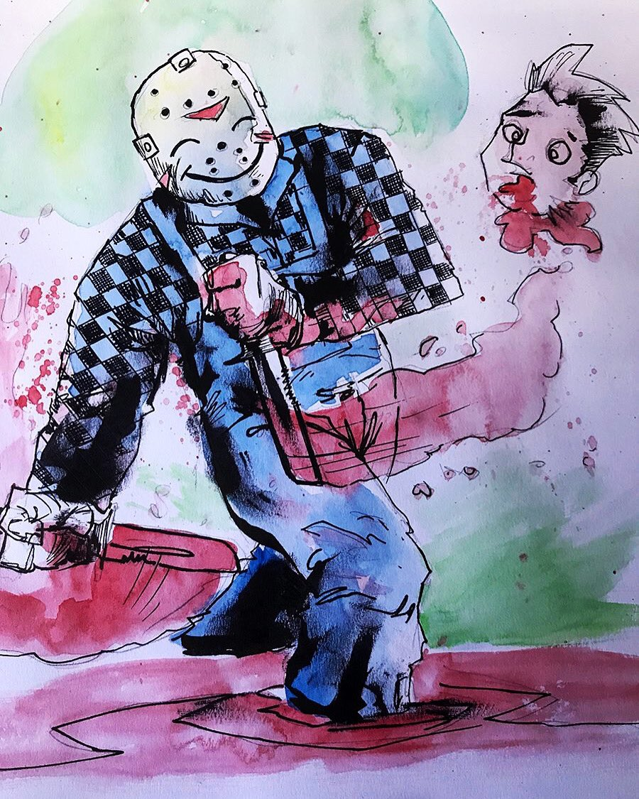 #Friday! Friday! Gotta get down on #FridayThe13th!  Do what you love and you'll never work a day in your life!  #inspirationalquotes #art #illustration #watercolor #ink<br>http://pic.twitter.com/RPf1dQewn2