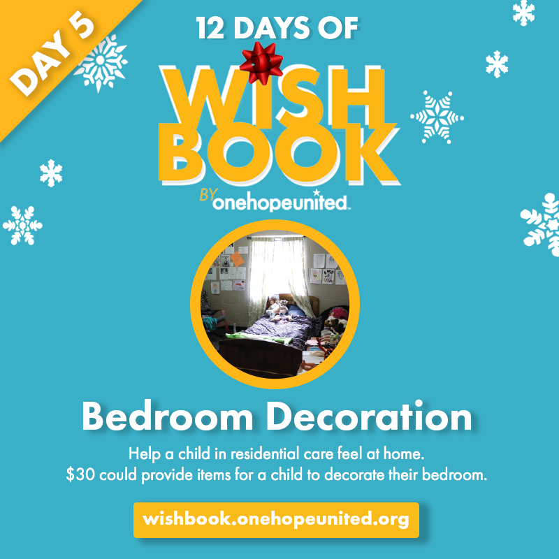 test Twitter Media - Day 5 of #12DaysOfWishbook  $30 could provide items for a child in residential care to decorate their bedroom to feel more at home.  Give today at https://t.co/3klS1MSc9f  #OneHopeUnited #Wishbook2019 #GiveBack #GiftsWithPurpose https://t.co/G5kUI7aXcM