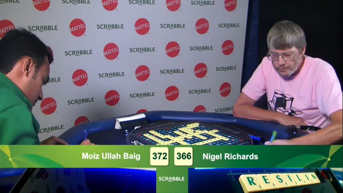 Against the 5-time World Scrabble Champion, Nigel Richards of New Zealand, at the World Championship last month in Torquay, UK.   #scrabble #pakistanscrabble #pakistani #karachi #worldchampionship #moizbaig #fridaythoughts #mattel https://t.co/0nkBi2jPK8