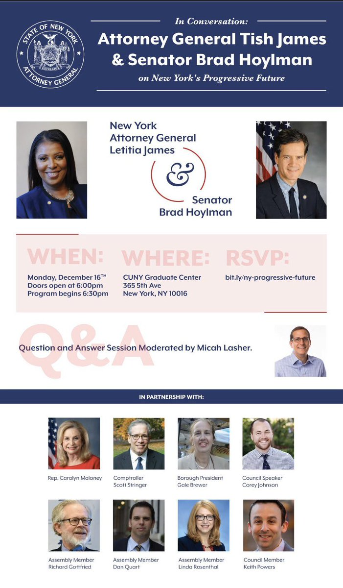 Join me for a town hall with @bradhoylman to discuss issues impacting New Yorkers this Monday, December 16 at 6:30PM at the @GC_CUNY.RSVP is required and space is limited. Sign up here: http://bit.ly/ny-progressive-future…